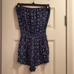 Forever 21 Strapless Blue Romper w/ Pockets